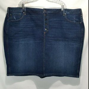 NEW Lane Bryant Exposed Button Fly Denim Skirt 28